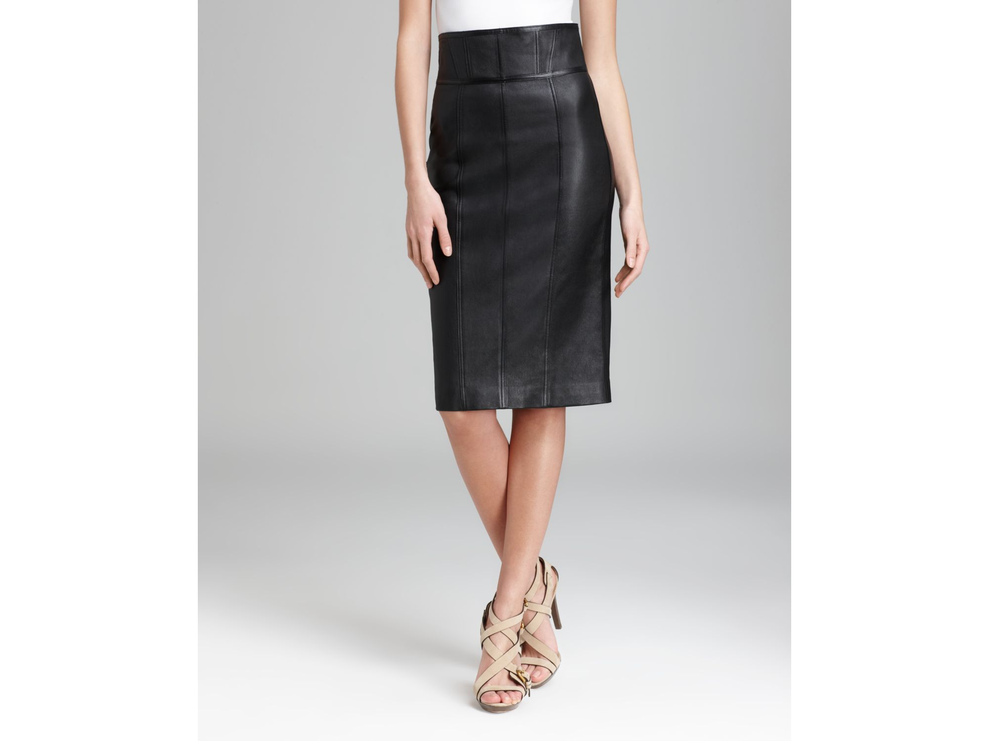Burberry London Skirt Leather High Waist Pencil in Black | Lyst