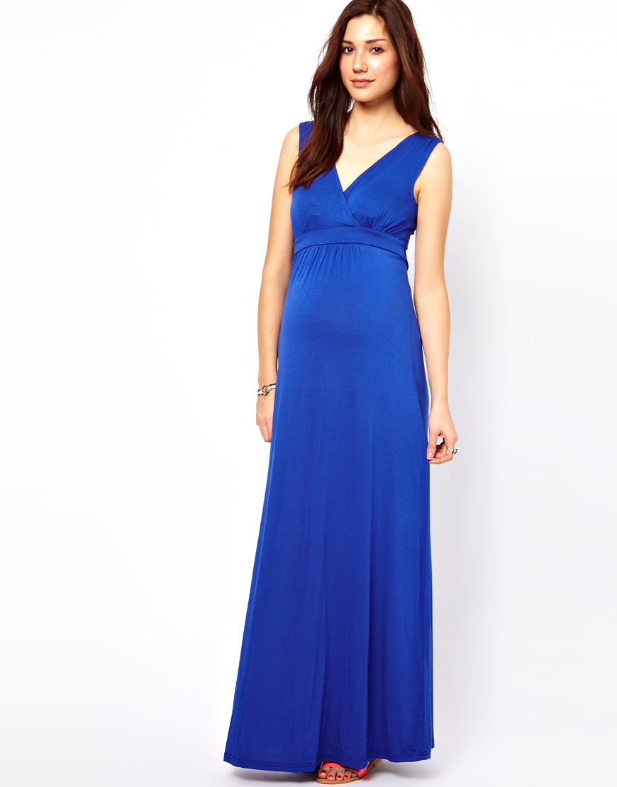 Asos new look maternity jersey maxi dress in blue lyst gallery ombrellifo Choice Image