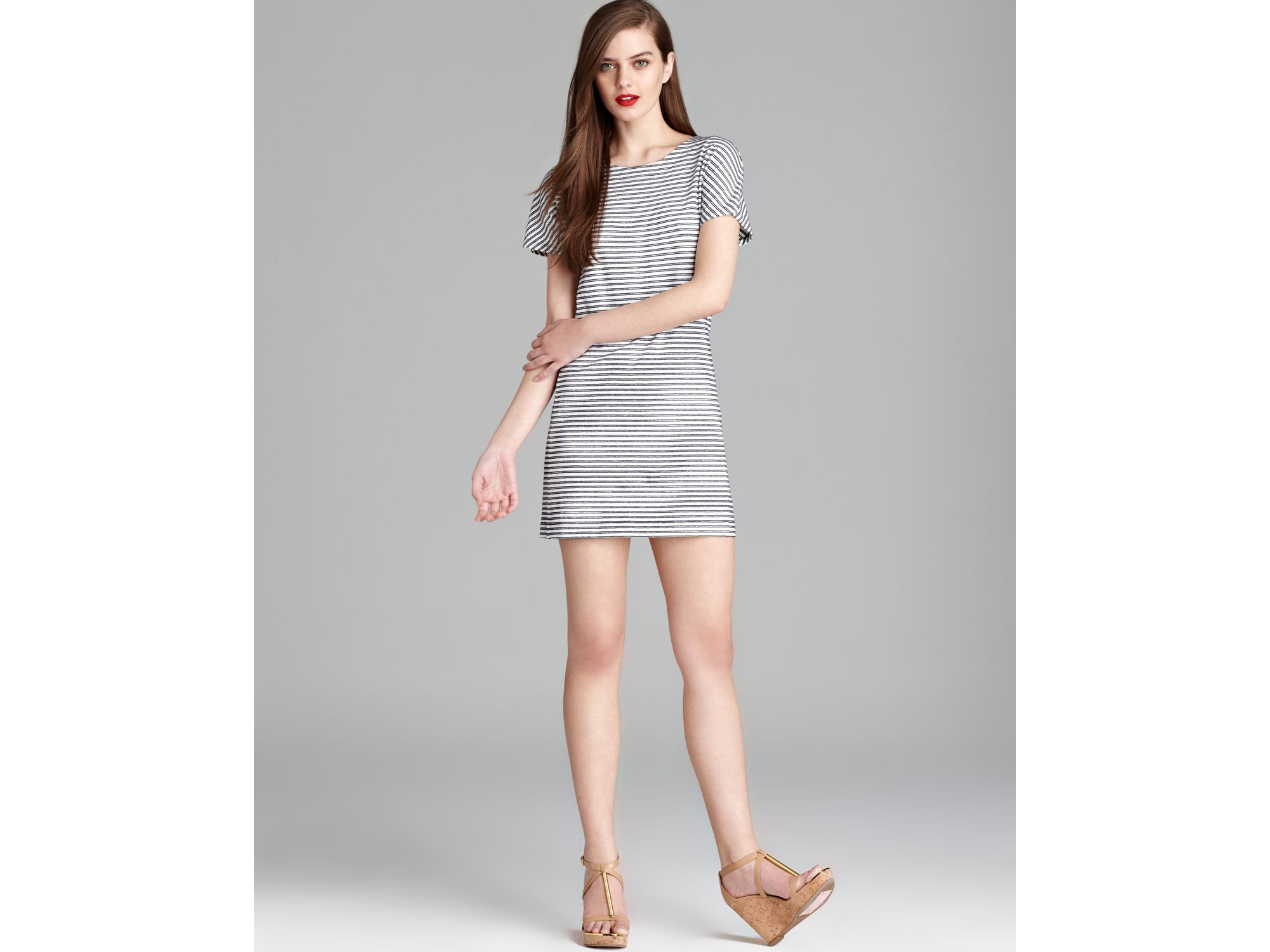 be810bcac85e Lyst - Theory T Shirt Dress Adiany B Meru Striped in Gray