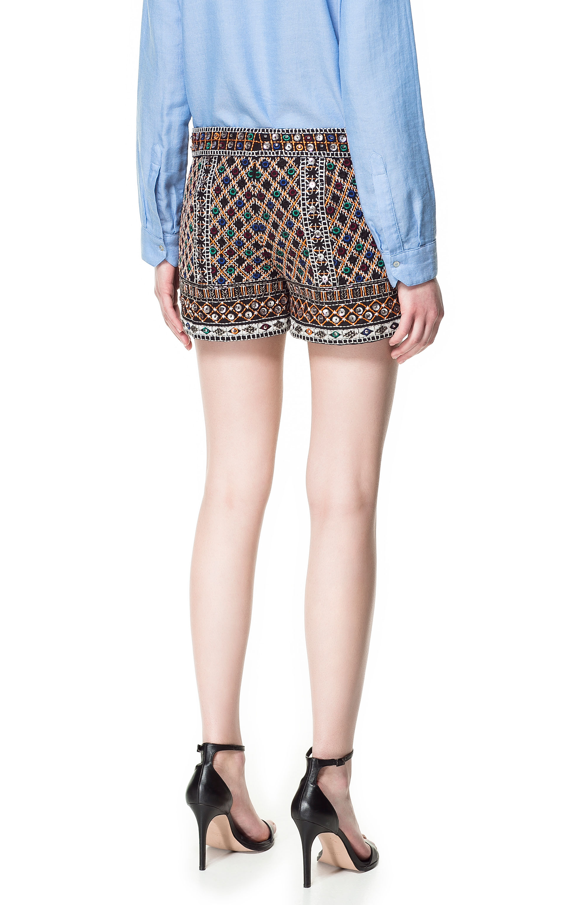 Zara embroidered shorts with stones in multicolor black