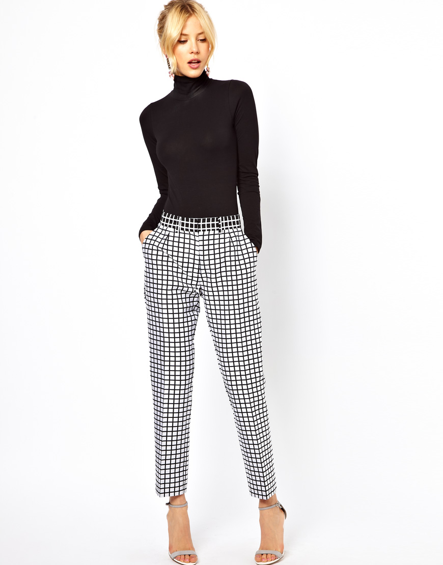 lyst asos collection trousers in monochrome check in white. Black Bedroom Furniture Sets. Home Design Ideas