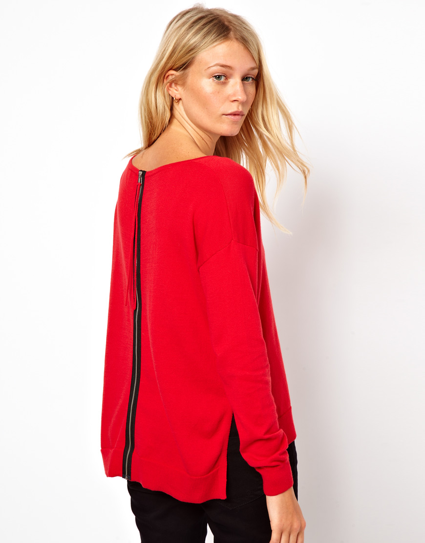 Asos Sweater With Zip Back Detail In Red Lyst