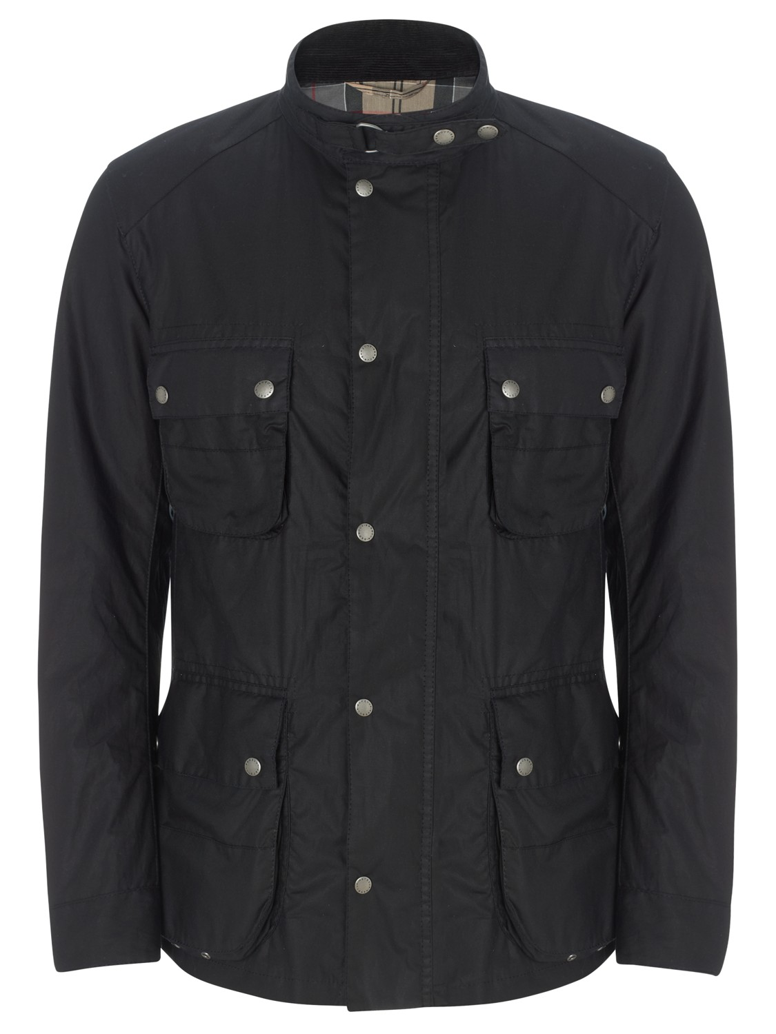 Barbour Mann Wax Cotton Motorcycle Jacket In Navy Black