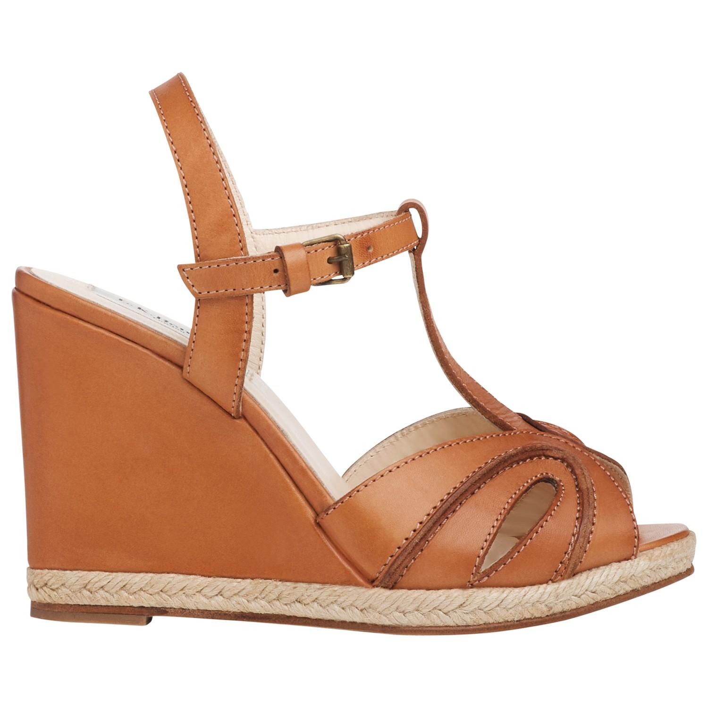 L K Bennett Milos Leather Tbar Wedge Heel Sandals In Brown