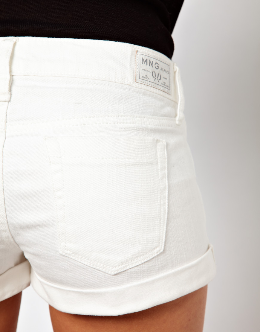 Mango White Denim Short in White | Lyst