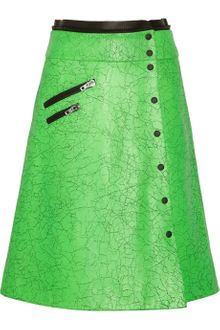 Rag & Bone Neon Cracked Leather Wrap Skirt - Lyst