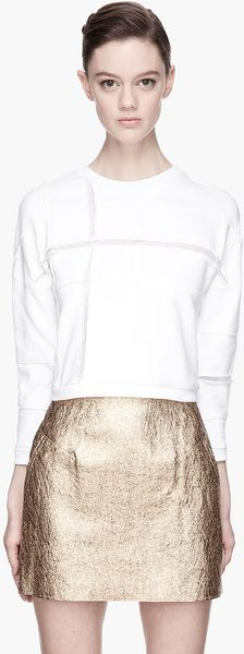 3.1 Phillip Lim White Cropped Plaid Cut Up Sweatshirt - Lyst
