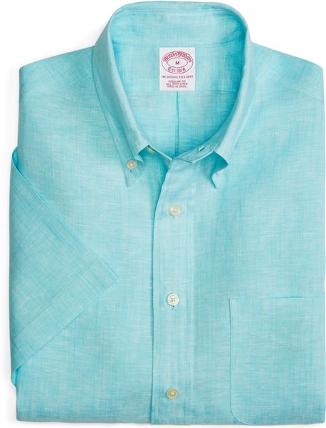 Brooks brothers regular fit solid linen short sleeve sport Brooks brothers shirt size guide
