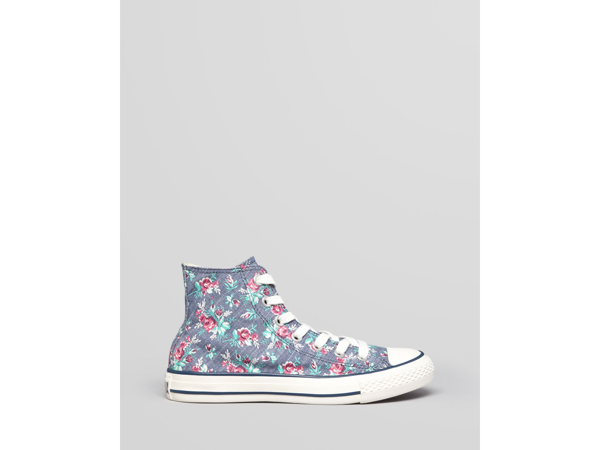 72c86324234608 Lyst - Converse Lace Up High Top Sneakers All Star Floral Print in White