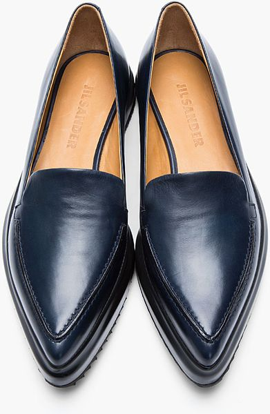 Jil Sander Navy Leather Pointed Creeper Flats In Blue
