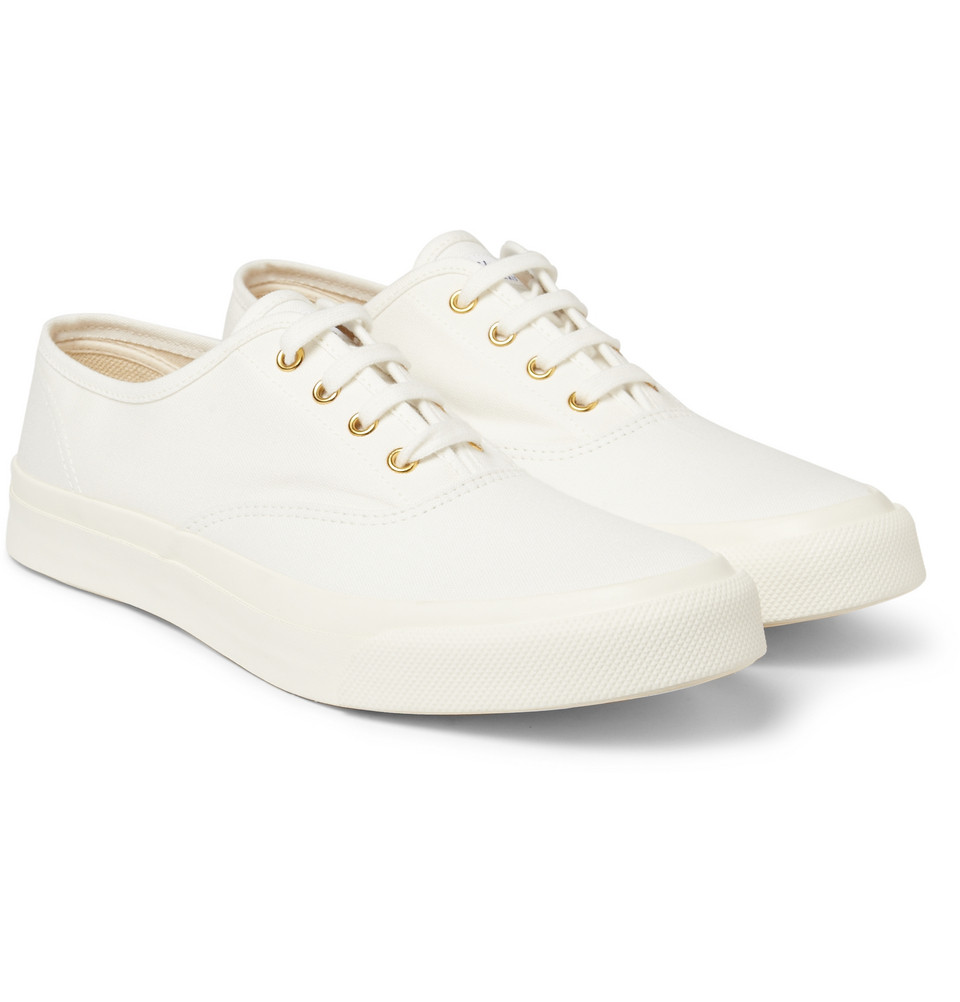 maison kitsun 233 rubbersoled canvas sneakers in white for