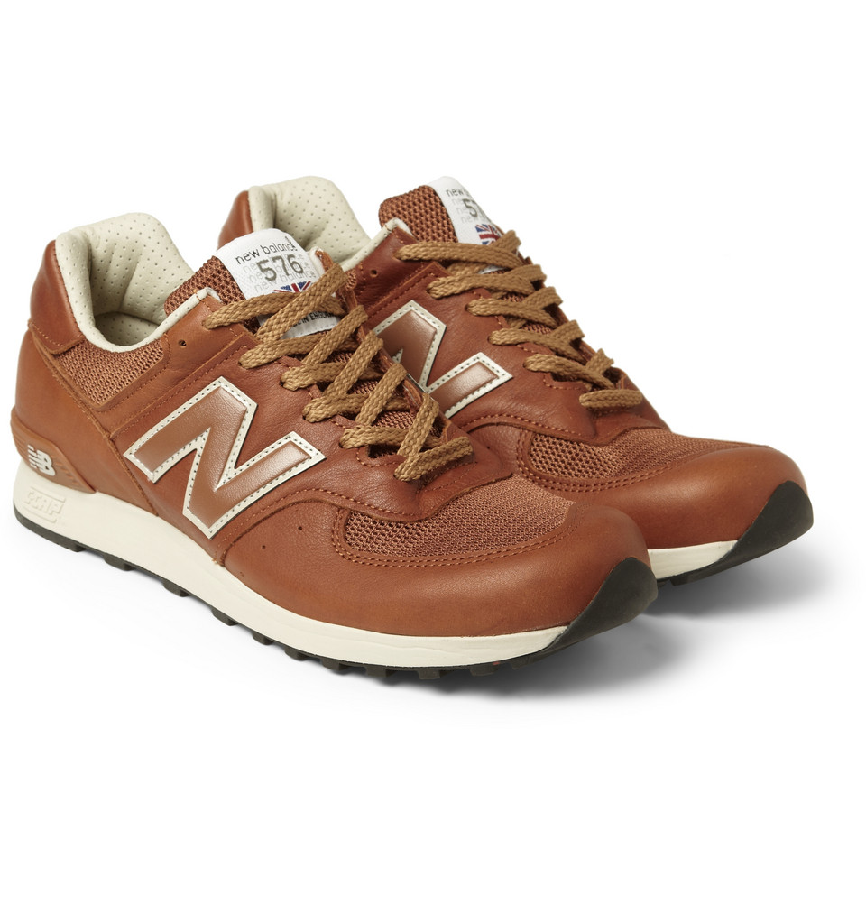 the best attitude b0339 14120 New Balance Brown 576 Leather and Mesh Running Sneakers for men
