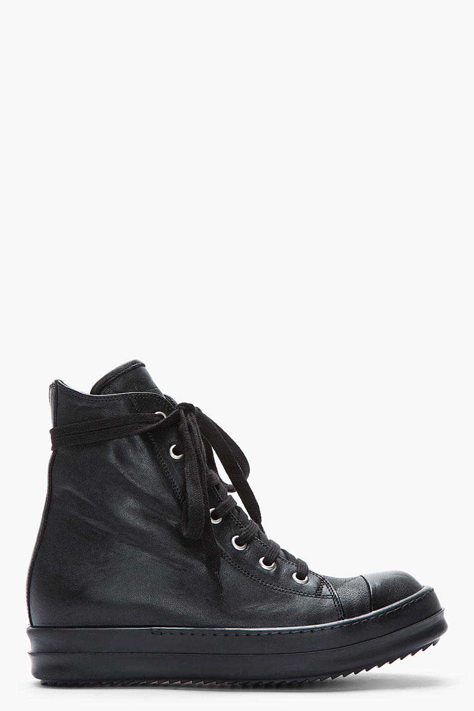 rick owens black leather zip ramones sneakers in black lyst. Black Bedroom Furniture Sets. Home Design Ideas