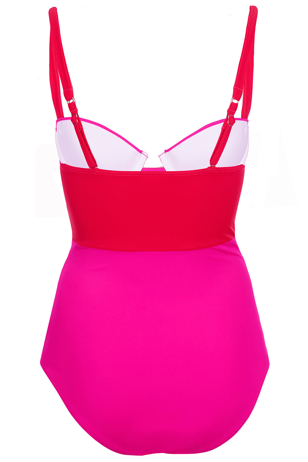 f94e800d5bdcdc TOPSHOP Red and Pink Colour Block Swimsuit in Pink - Lyst