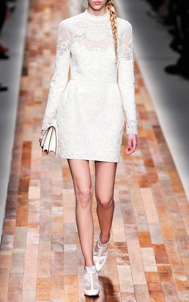 Valentino Embroidered Short Dress With French Cuffs In
