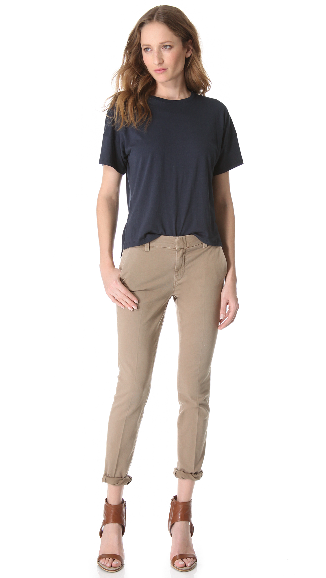 Vince drop shoulder crew tee in blue lyst for Vince tee shirts sale