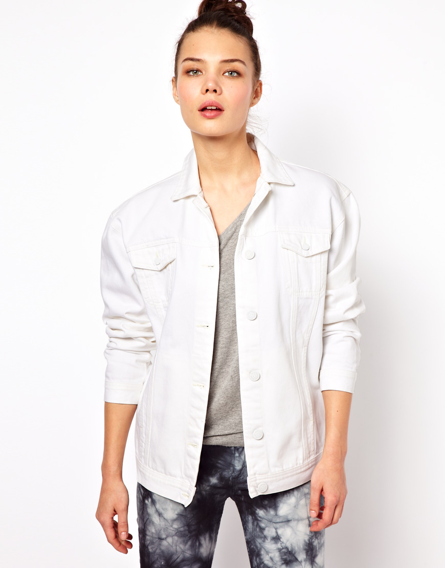 Won hundred Jeans Josie Oversized Denim Jacket in White | Lyst