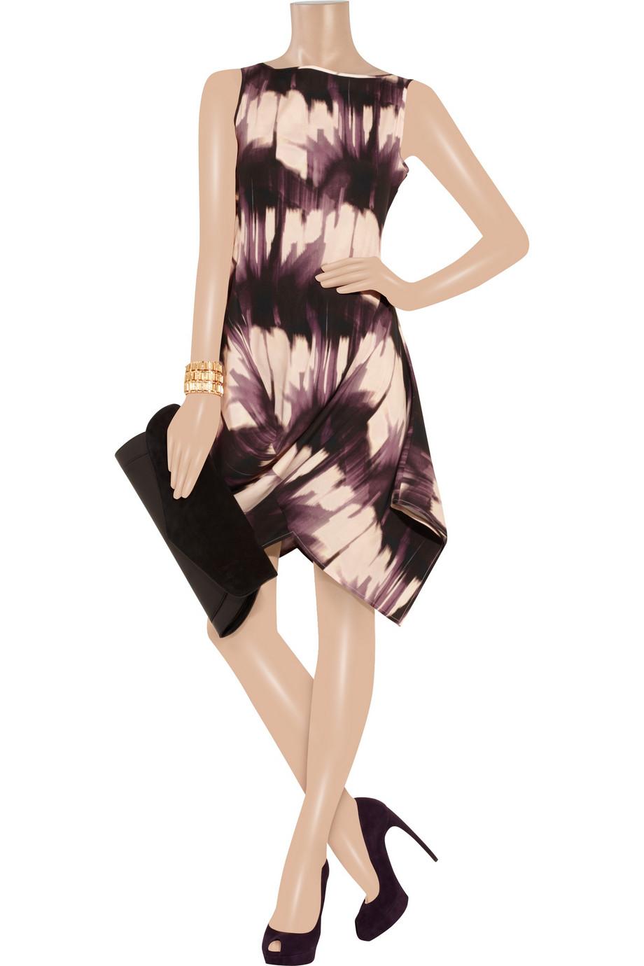 Zero + Maria Cornejo Little O Printed Stretch Silk Dress in Mauve (Purple)