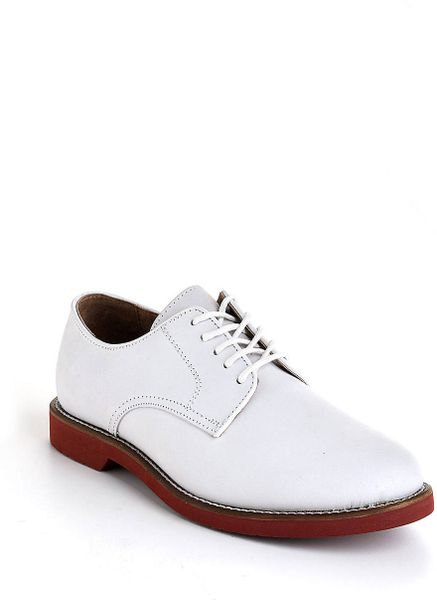 Bass Buckingham Leather Oxfords in White for Men - Lyst