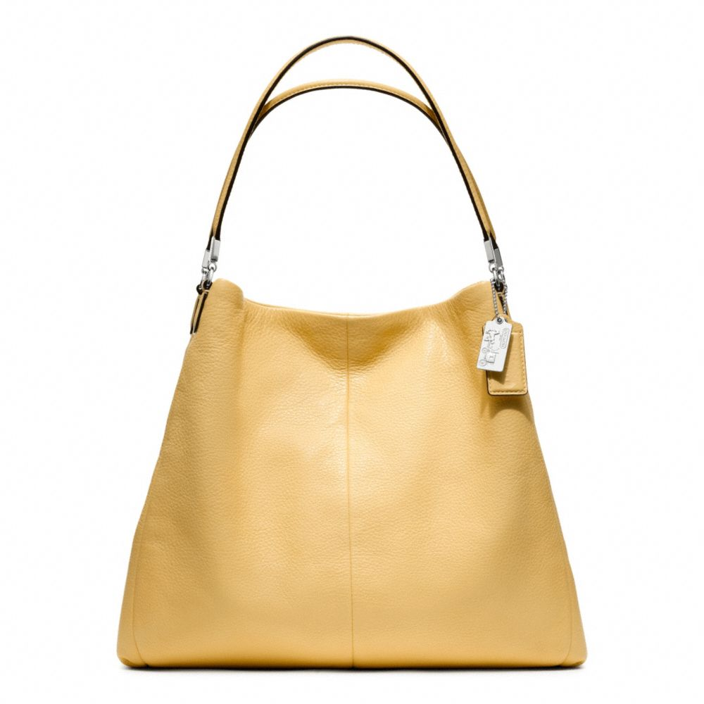 lyst coach madison leather phoebe shoulder bag in yellow rh lyst com