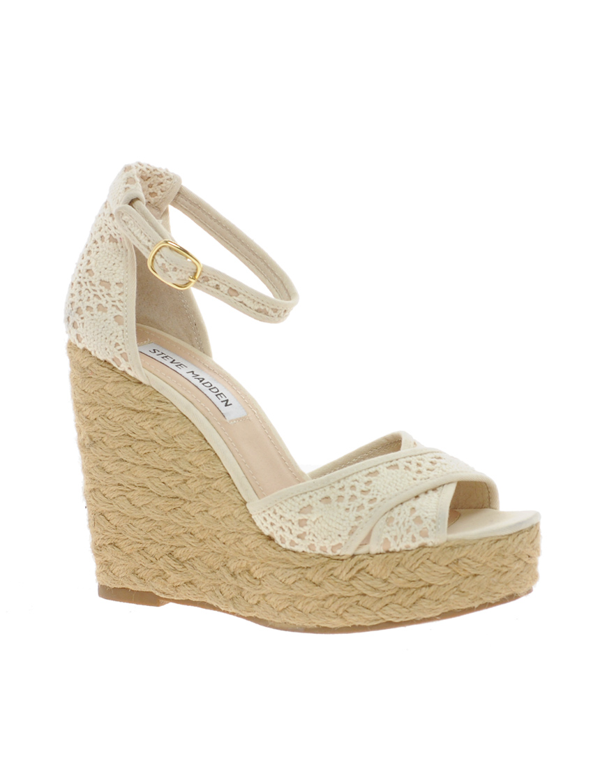 69dbec2992f Lyst steve madden marrvil natural platform wedge sandals in natural jpg  870x1110 Linen wedge steve madden