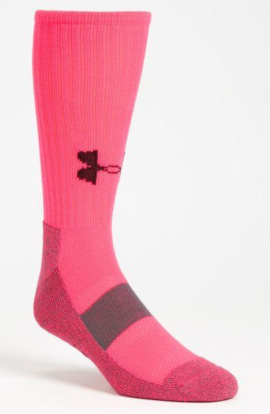 Under Armour Performance Crew Socks in Pink for Men (start ...