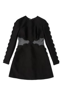 Valentino Long Sleeved Scallop Edge Dress with Open Waist Scallop Detail - Lyst