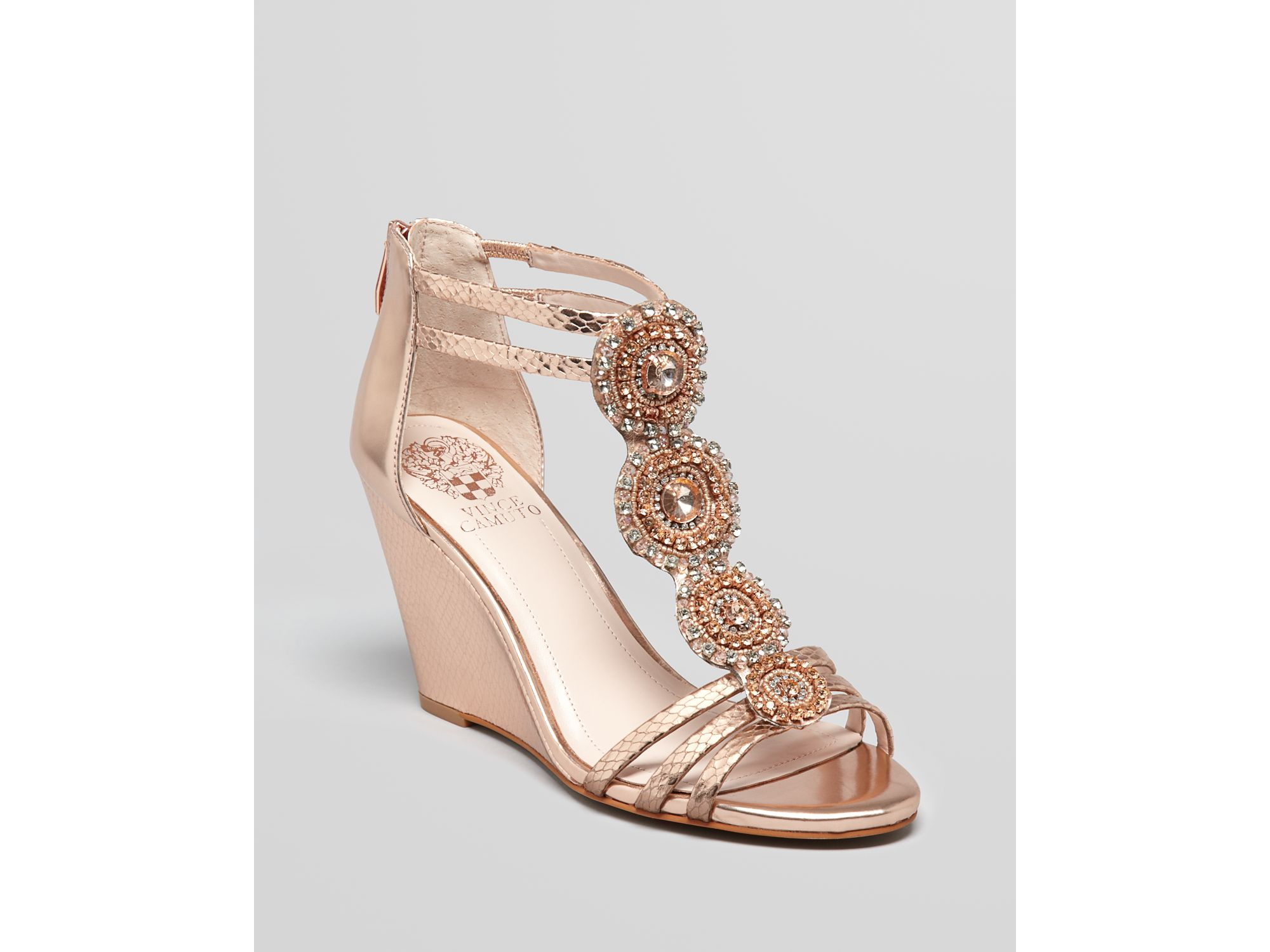 Vince Camuto Wedges T Strap Jeweled Zimily In Pink Rose