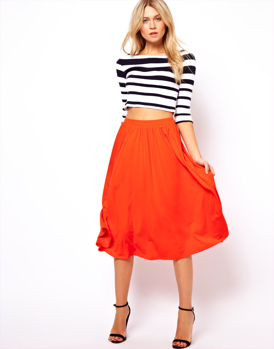 Stussy Asos Full Midi Skirt in Orange | Lyst