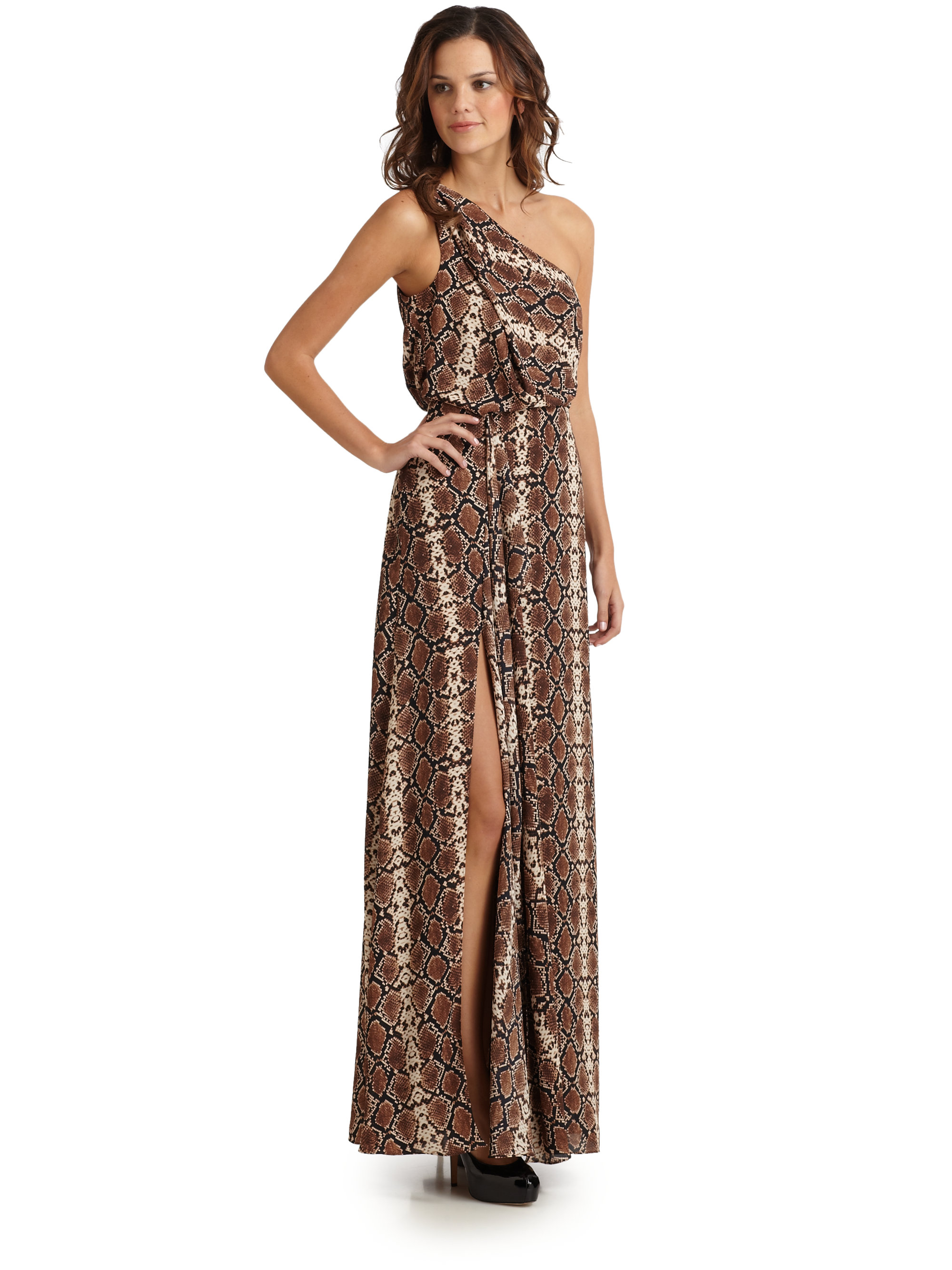 aafb24f17365 BCBGMAXAZRIA Kessa Reptile Print One-Shoulder Dress - Lyst
