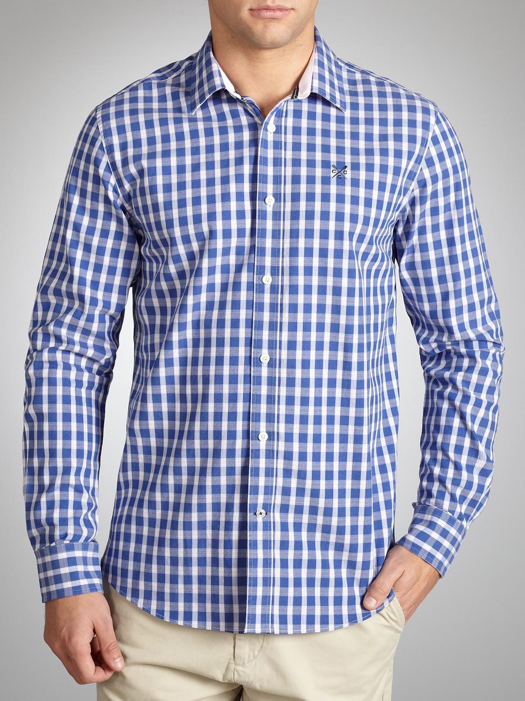 Crew Jesmond Check Shirt in Blue for Men