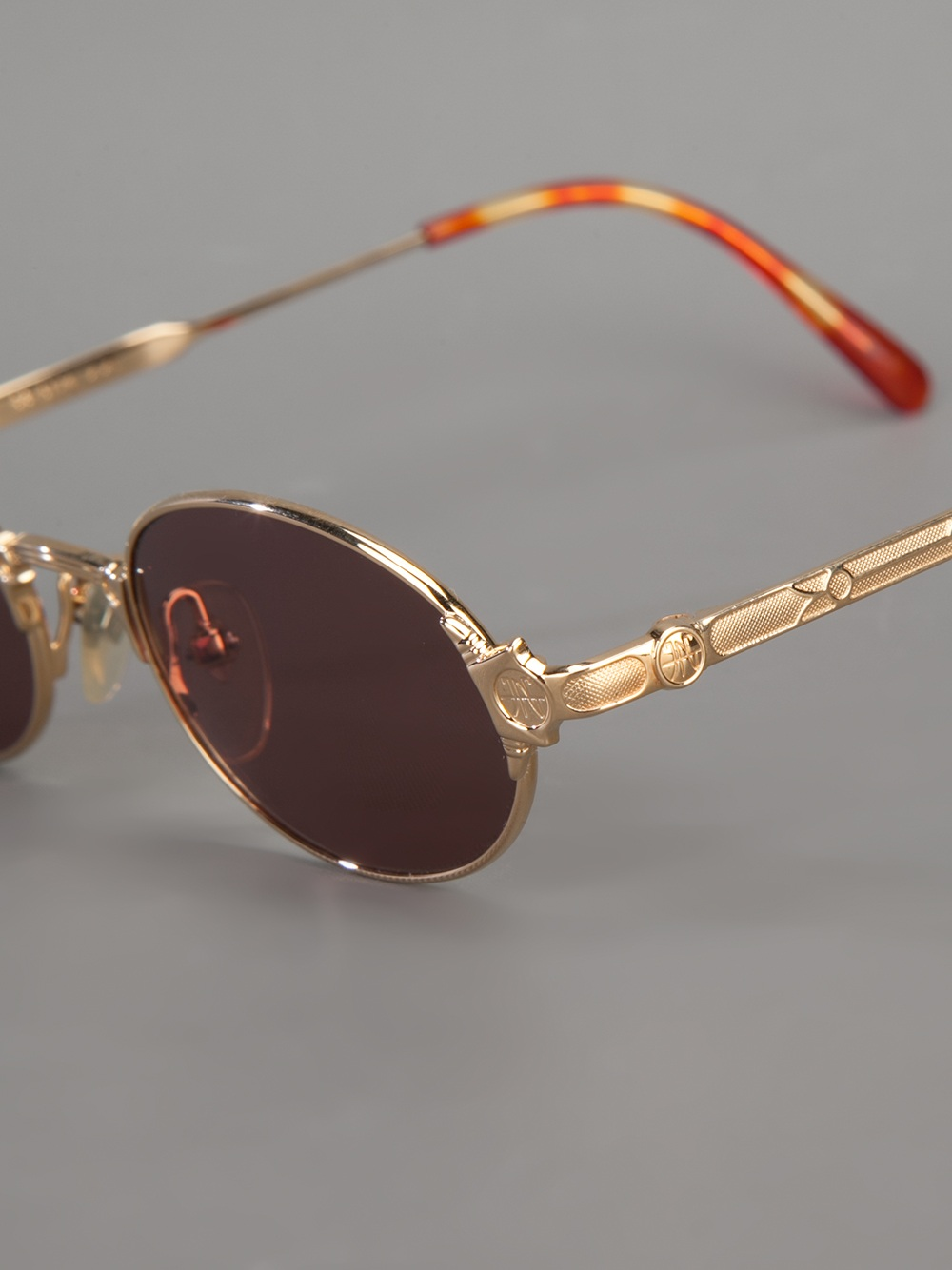 Jean paul gaultier Oval Frame Sunglasses in Silver Lyst