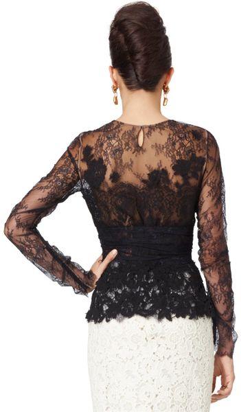 Oscar De La Renta Long Sleeve Lace Blouse in Black | Lyst
