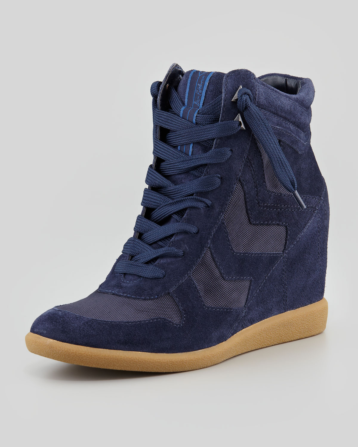 63677c4f0bee Lyst - Sam Edelman Bennett Velour Hidden Wedge Sneaker in Blue