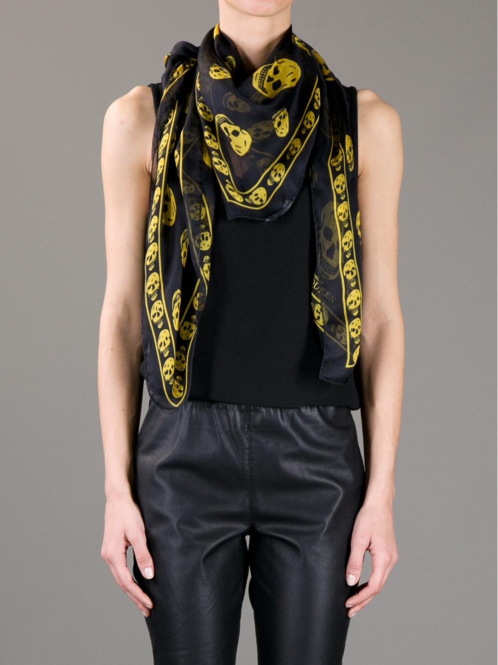 Alexander McQueen Skull Print Scarf in Black Yellow Lyst