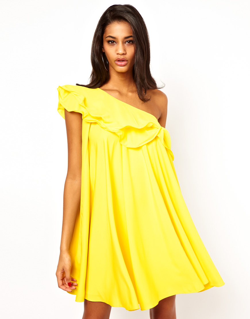 Asos Collection One Shoulder Ruffle Shift Dress In Yellow