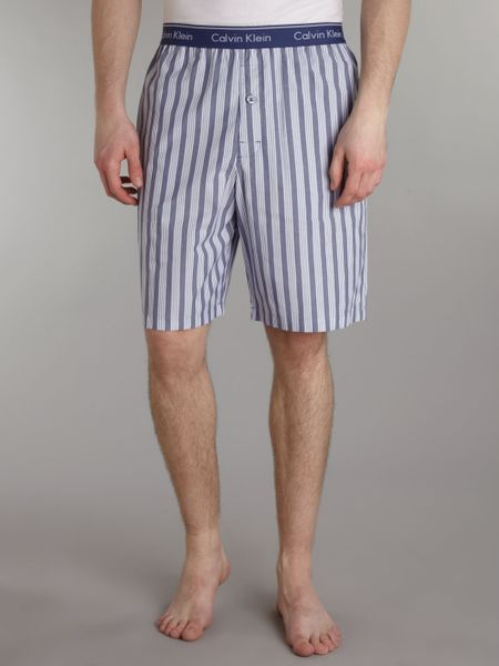 Calvin Klein Spring Stripe Nightwear Short In Blue For Men