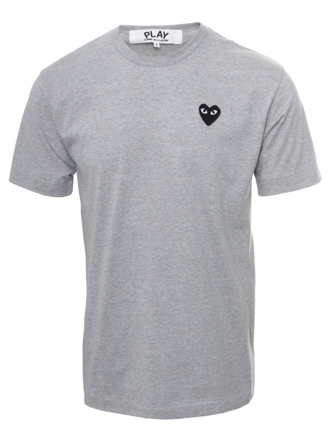 play comme des gar ons play mens black heart t shirt grey. Black Bedroom Furniture Sets. Home Design Ideas