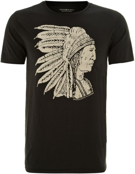 Denim & Supply Ralph Lauren Chief Printed Tshirt in Black for Men (nearly black)