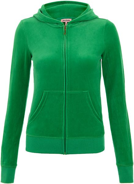 Juicy Couture Velour Logo Hooded Sweatshirt in Green
