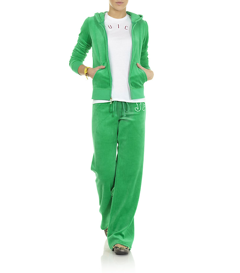 49863f85bf6d Juicy Couture Velour Logo Tracksuit Pants in Green - Lyst