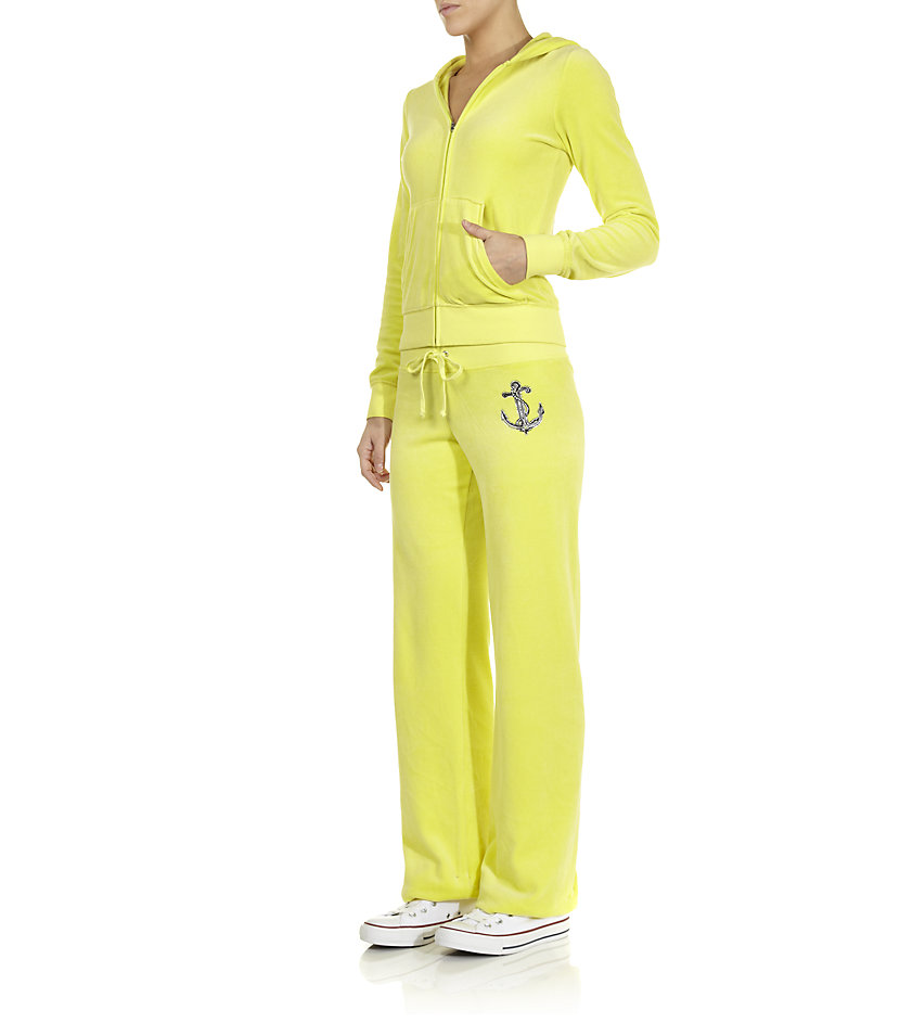 Juicy Couture Velour Logo Tracksuit Pants In Yellow Lyst