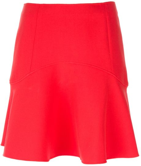 le mont st michel flared high waisted skirt in orange lyst