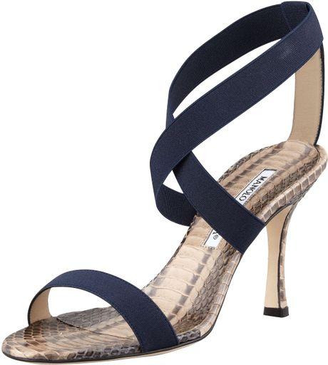 Manolo Blahnik Unnerta Elastic Strap Sandal Navy In Blue