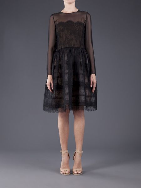 Oscar De La Renta Embroidered Lace Dress In Black Lyst