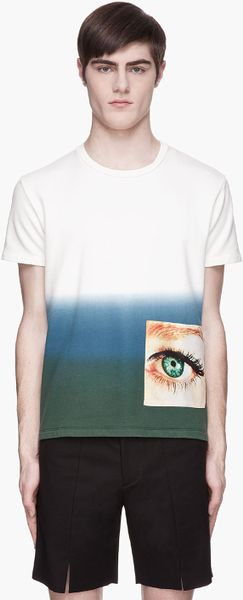 Raf Simons Pink and Blue Ombre Satin Eye Patch T-shirt - Lyst