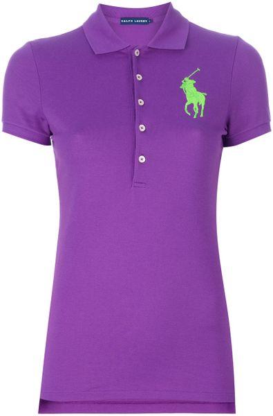 Ralph lauren blue label big pony polo shirt in purple lyst for Black ralph lauren shirt purple horse