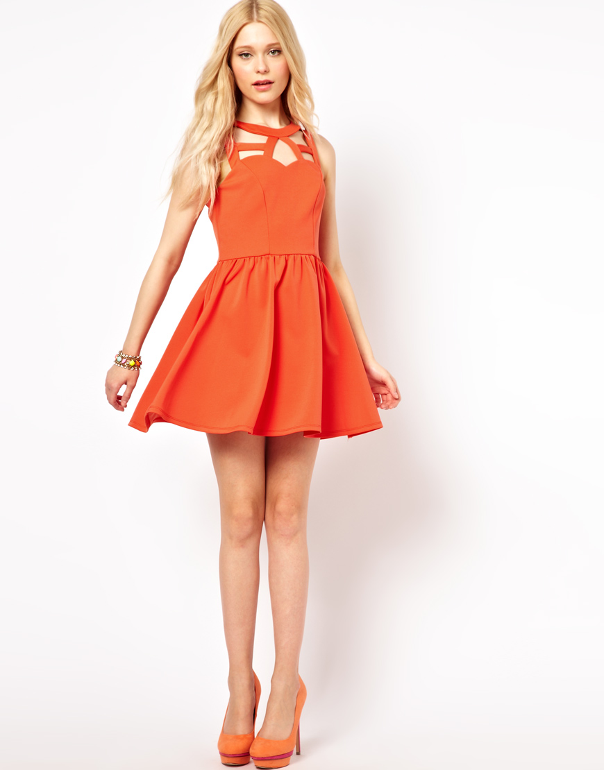 d73239cac605 Lyst - River Island Cut Out Skater Dress in Orange