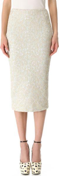 rochas below the knee pencil skirt in white green lyst
