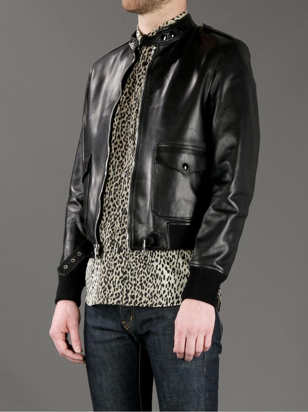 e0f4b69d2 Saint Laurent Contrast Leather Bomber Jacket in Black for Men - Lyst